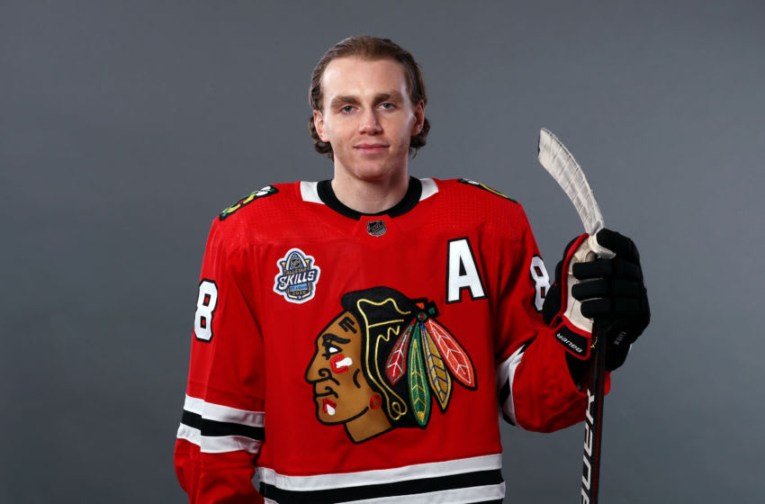 ST LOUIS, MISSOURI - JANUARY 24: Patrick Kane #88 of the Chicago Blackhawks poses for a portrait ahead of the 2020 NHL All-Star Game at Enterprise Center on January 24, 2020 in St Louis, Missouri. (Photo by Jamie Squire/Getty Images)