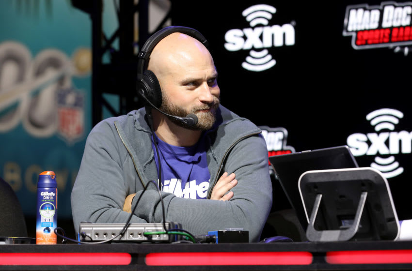 MIAMI, FLORIDA - JANUARY 29: Former NFL player Kyle Long speaks onstage during day one with SiriusXM at Super Bowl LIV on January 29, 2020 in Miami, Florida. (Photo by Cindy Ord/Getty Images for SiriusXM)