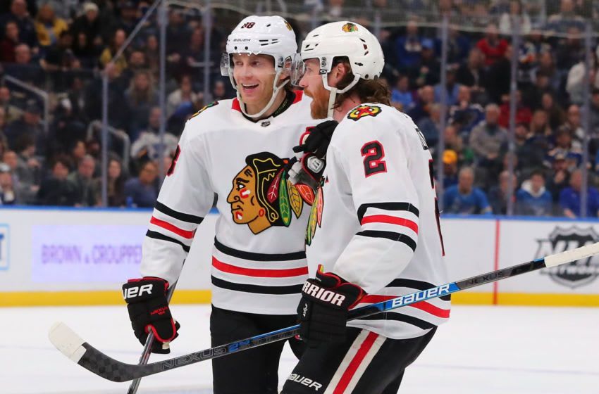 ST. LOUIS, MO - FEBRUARY 25: Patrick Kane #88 and Duncan Keith #2 of the Chicago Blackhawks celebrate a goal by Keith against the St. Louis Blues at the Enterprise Center on February 25, 2020 in St. Louis, Missouri. (Photo by Dilip Vishwanat/Getty Images)