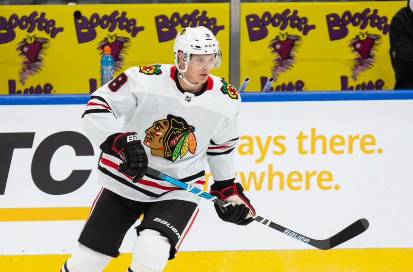 EDMONTON, AB - FEBRUARY 11: Dominik Kubalik #8 of the Chicago Blackhawks skates against the Edmonton Oilers at Rogers Place on February 11, 2020, in Edmonton, Canada. (Photo by Codie McLachlan/Getty Images)