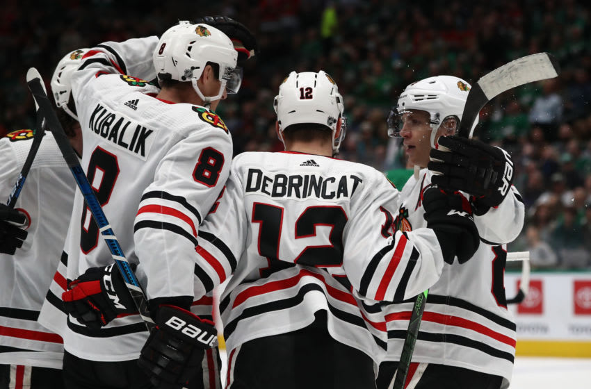 DALLAS, TEXAS - FEBRUARY 23: Dominik Kubalik #8 of the Chicago Blackhawks celebrates a goal against the Dallas Stars in the second period at American Airlines Center on February 23, 2020 in Dallas, Texas. (Photo by Ronald Martinez/Getty Images)