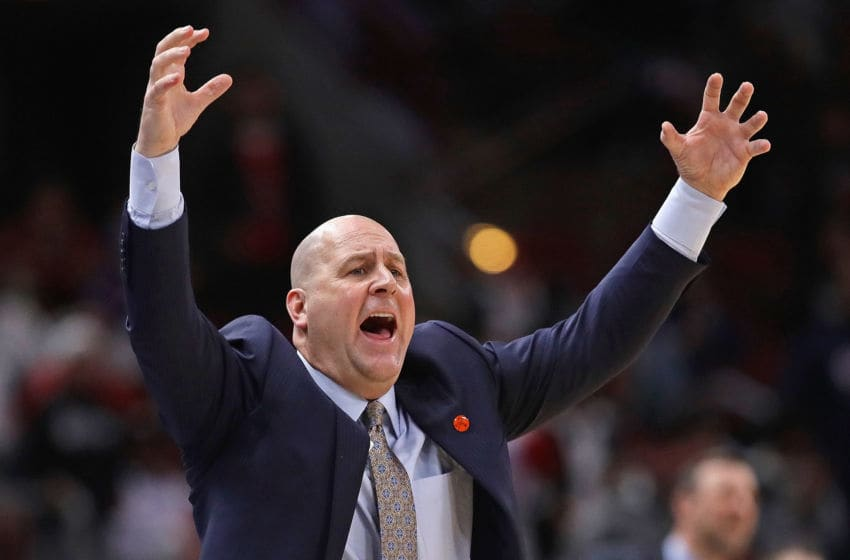 CHICAGO, ILLINOIS - FEBRUARY 25: Head coach Jim Boylen of the Chicago Bulls yells instructions to his team against the Oklahoma City Thunder at the United Center on February 25, 2020 in Chicago, Illinois. The Thunder beat the Bulls 124-122. NOTE TO USER: User expressly acknowledges and agrees that, by downloading and or using this photograph, User is consenting to the terms and conditions of the Getty Images License Agreement. (Photo by Jonathan Daniel/Getty Images)