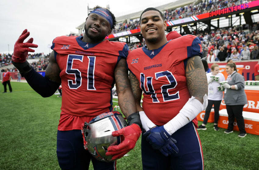 HOUSTON, TX - MARCH 7: Edmond Robinson #51 and Beniquez Brown #42 of the Houston Roughnecks pose for a photo during the XFL game against the Seattle Dragons at TDECU Stadium on March 7, 2020 in Houston, Texas. (Photo by Thomas Campbell/XFL via Getty Images)