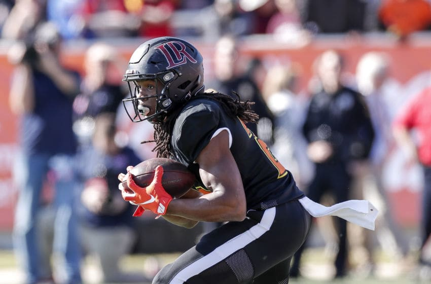 MOBILE, AL - JANUARY 25: Safety Kyle Dugger #23 from Lenoir Rhyne of the South Team runs back a punt return during the 2020 Resse's Senior Bowl at Ladd-Peebles Stadium on January 25, 2020 in Mobile, Alabama. The Noth Team defeated the South Team 34 to 17. (Photo by Don Juan Moore/Getty Images)