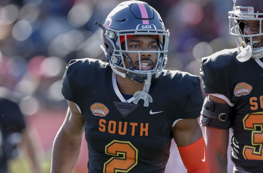 MOBILE, AL - JANUARY 25: Cornerback Kindle Vildor #2 from Georgia Southern of the South Team during the 2020 Resse's Senior Bowl at Ladd-Peebles Stadium on January 25, 2020 in Mobile, Alabama. The North Team defeated the South Team 34 to 17. (Photo by Don Juan Moore/Getty Images)