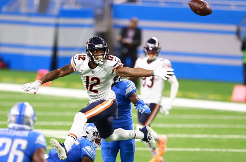 DETROIT, MI - SEPTEMBER 13: Allen Robinson II #12 of the Chicago Bears attempts to make a catch in the first quarter against the Detroit Lions at Ford Field on September 13, 2020 in Detroit, Michigan. (Photo by Rey Del Rio/Getty Images)