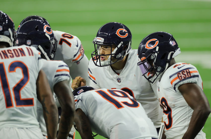 DETROIT, MI - SEPTEMBER 13: Mitchell Trubisky #10 of the Chicago Bears cels the play in the huddle during the second quarter of the game against the Detroit Lions at Ford Field on September 13, 2020 in Detroit, Michigan. Chicago defeated Detroit 27-23. (Photo by Leon Halip/Getty Images)