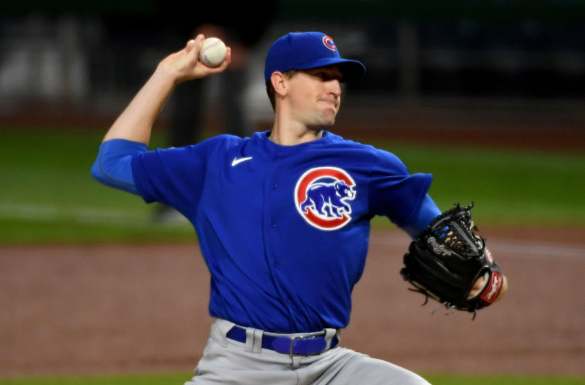 PITTSBURGH, PA - SEPTEMBER 23: Kyle Hendricks #28 of the Chicago Cubs delivers a pitch in the first inning during the game against the Pittsburgh Pirates at PNC Park on September 23, 2020 in Pittsburgh, Pennsylvania. (Photo by Justin Berl/Getty Images)