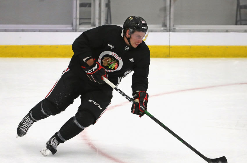 CHICAGO, ILLINOIS - JULY 14: Matthew Highmore #36 of the Chicago Blackhawks controls the puck during a summer training camp practice at Fifth Third Arena on July 14, 2020 in Chicago, Illinois. (Photo by Jonathan Daniel/Getty Images)