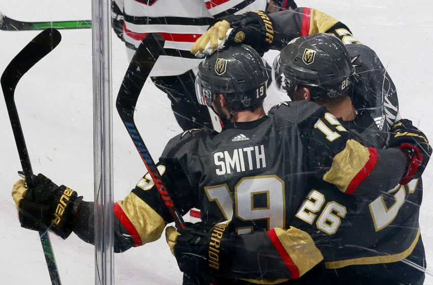 EDMONTON, ALBERTA - AUGUST 11: Reilly Smith #19 of the Vegas Golden Knights celebrates a goal with teammate Paul Stastny #26 against the Chicago Blackhawks during the third period in Game One of the Western Conference First Round during the 2020 NHL Stanley Cup Playoffs at Rogers Place on August 11, 2020 in Edmonton, Alberta. (Photo by Jeff Vinnick/Getty Images)