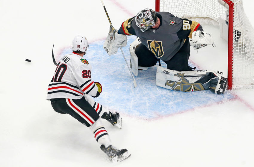 EDMONTON, ALBERTA - AUGUST 13: Brandon Saad #20 of the Chicago Blackhawks misses a first period opportunity against Robin Lehner #90 of the Vegas Golden Knights in Game Two of the Western Conference First Round during the 2020 NHL Stanley Cup Playoffs at Rogers Place on August 13, 2020 in Edmonton, Alberta, Canada. (Photo by Jeff Vinnick/Getty Images)