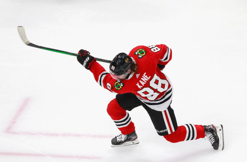 EDMONTON, ALBERTA - AUGUST 16: Patrick Kane #88 of the Chicago Blackhawks skates in warm-ups prior to the game against the Vegas Golden Knights in Game Four of the Western Conference First Round during the 2020 NHL Stanley Cup Playoffs at Rogers Place on August 16, 2020 in Edmonton, Alberta, Canada. (Photo by Jeff Vinnick/Getty Images)