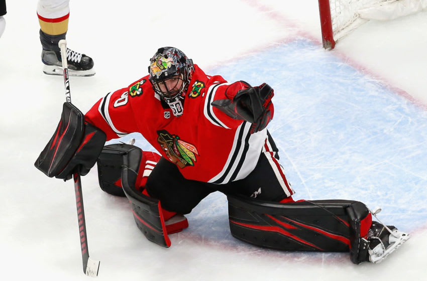 EDMONTON, ALBERTA - AUGUST 16: Corey Crawford #50 of the Chicago Blackhawks makes the second period save against the Vegas Golden Knights in Game Four of the Western Conference First Round during the 2020 NHL Stanley Cup Playoffs at Rogers Place on August 16, 2020 in Edmonton, Alberta, Canada. (Photo by Jeff Vinnick/Getty Images)