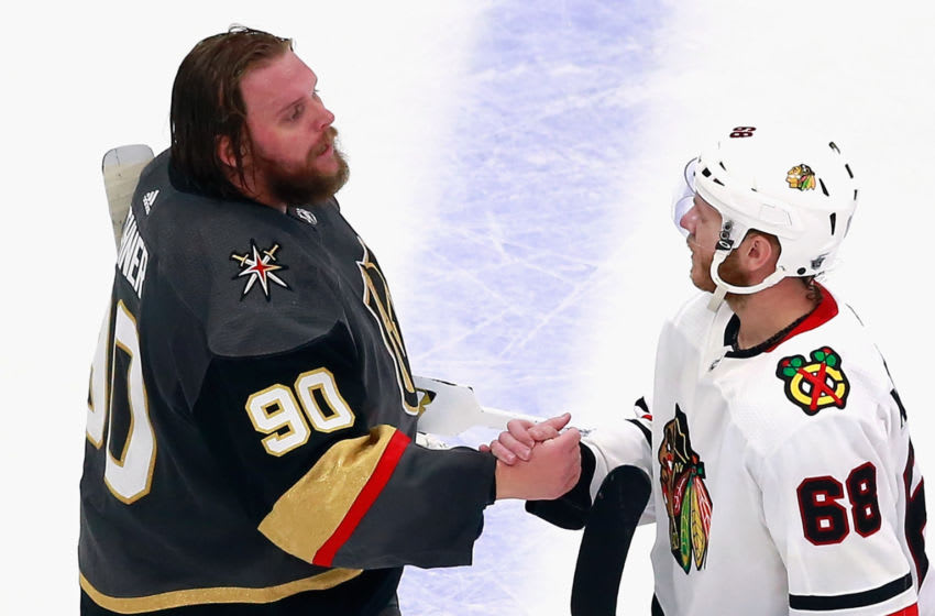 EDMONTON, ALBERTA - AUGUST 18: Robin Lehner #90 of the Vegas Golden Knights and Slater Koekkoek #68 of the Chicago Blackhawks shake hands after the Golden Knights victory in Game Five of the Western Conference First Round during the 2020 NHL Stanley Cup Playoffs at Rogers Place on August 18, 2020 in Edmonton, Alberta, Canada. The Golden Knights defeated the Blackhawks 3-2 to win the series 4-1.