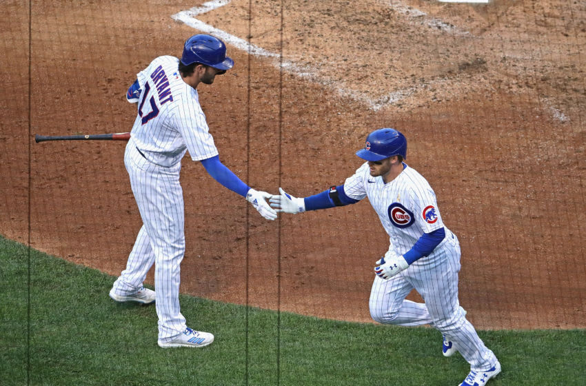 Ian Happ #8, Kris Bryant #17, Chicago Cubs (Photo by Jonathan Daniel/Getty Images)