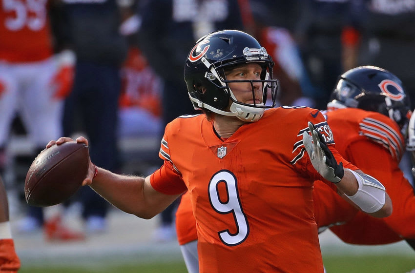 CHICAGO, ILLINOIS - OCTOBER 04: Nick Foles #9 of the Chicago Bears passes against the Indianapolis Colts at Soldier Field on October 04, 2020 in Chicago, Illinois. (Photo by Jonathan Daniel/Getty Images)