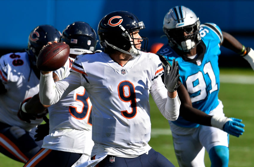 CHARLOTTE, NORTH CAROLINA - OCTOBER 18: Nick Foles #9 of the Chicago Bears throws a pass in the fourth quarter against the Carolina Panthers at Bank of America Stadium on October 18, 2020 in Charlotte, North Carolina. (Photo by Grant Halverson/Getty Images)