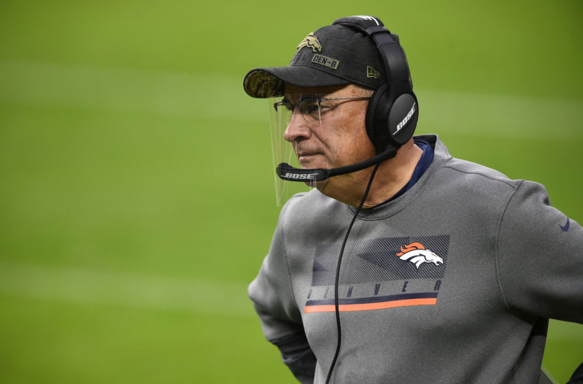 LAS VEGAS, NEVADA - NOVEMBER 15: Head coach Vic Fangio of the Denver Broncos looks on during the first half of a game against the Las Vegas Raiders at Allegiant Stadium on November 15, 2020 in Las Vegas, Nevada. (Photo by Chris Unger/Getty Images)
