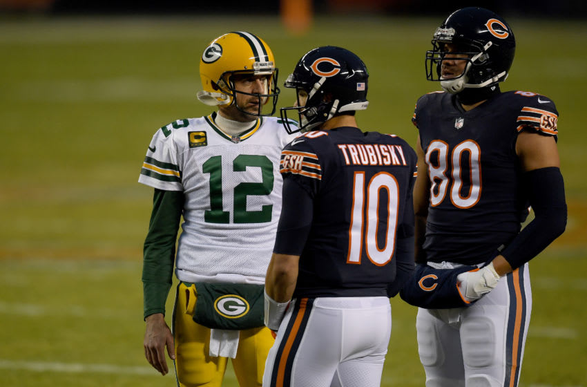 CHICAGO, ILLINOIS - JANUARY 03: Aaron Rodgers #12 of the Green Bay Packers talks with Mitchell Trubisky #10 of the Chicago Bears during the second quarter in the game at Soldier Field on January 03, 2021 in Chicago, Illinois. (Photo by Quinn Harris/Getty Images)