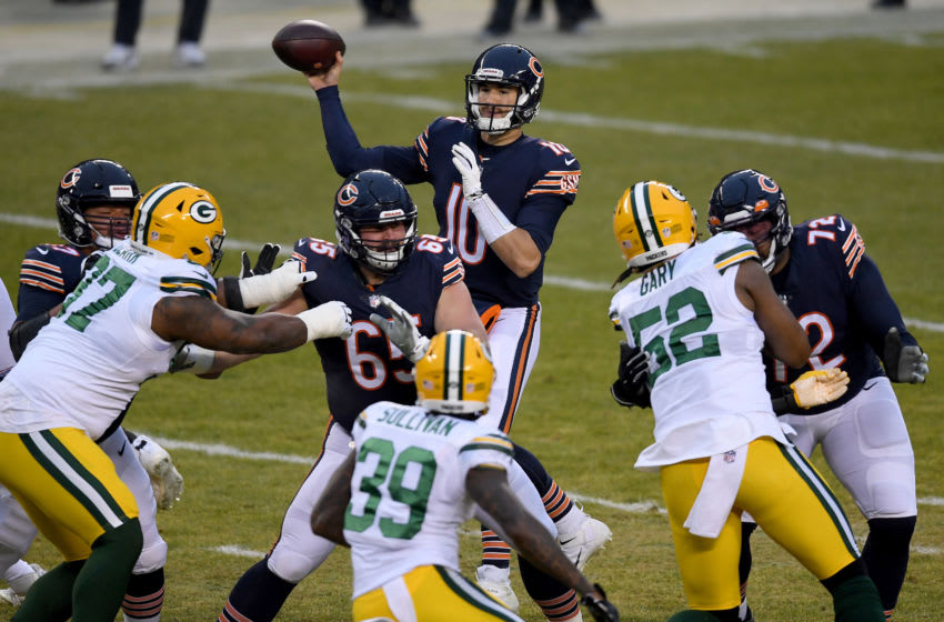 CHICAGO, ILLINOIS - JANUARY 03: Mitchell Trubisky #10 of the Chicago Bears throws a pass against the Green Bay Packers during the first quarter in the game at Soldier Field on January 03, 2021 in Chicago, Illinois. (Photo by Quinn Harris/Getty Images)