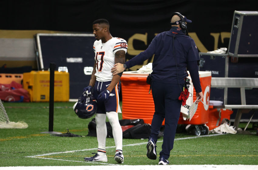 NEW ORLEANS, LOUISIANA - JANUARY 10: Anthony Miller #17 of the Chicago Bears talks with head coach Matt Nagy after being ejected from the game on a penalty of Unsportsmanlike Conduct because Miller punched Chauncey Gardner-Johnson #22 of the New Orleans Saints during the third quarter in the NFC Wild Card Playoff game at Mercedes Benz Superdome on January 10, 2021 in New Orleans, Louisiana. (Photo by Chris Graythen/Getty Images)
