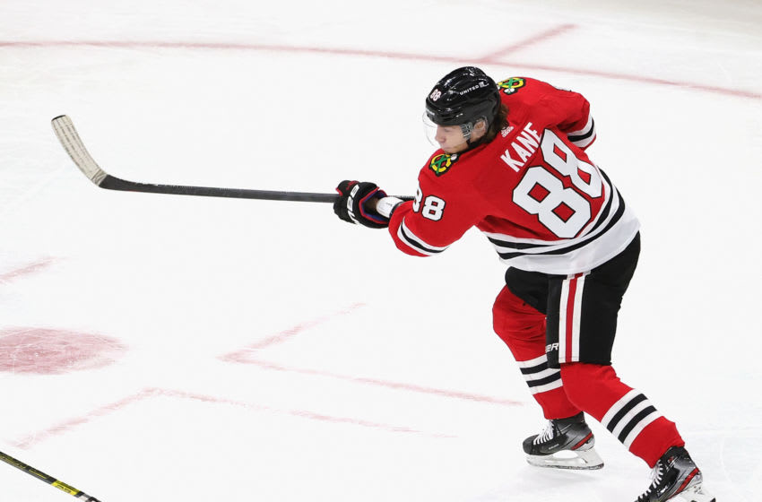 CHICAGO, ILLINOIS - FEBRUARY 04: Patrick Kane #88 of the Chicago Blackhawks shoots against the Carolina Hurricanes at the United Center on February 04, 2021 in Chicago, Illinois. (Photo by Jonathan Daniel/Getty Images)