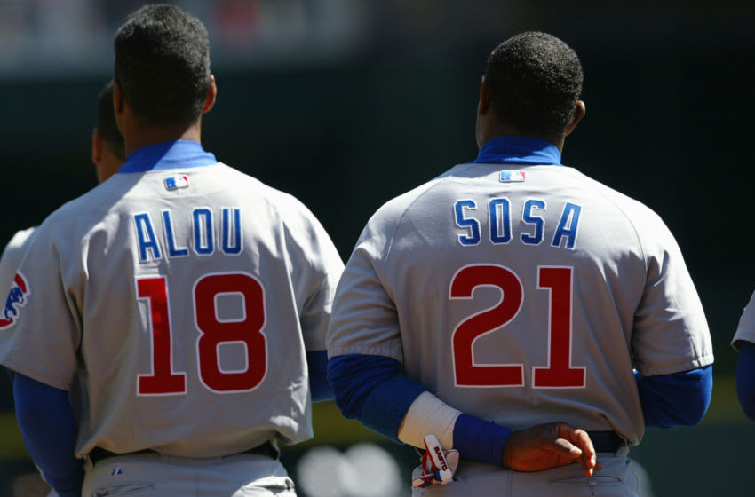 Sammy Sosa, Moises Alou, Chicago Cubs. (Photo by Andy Lyons/Getty Images)