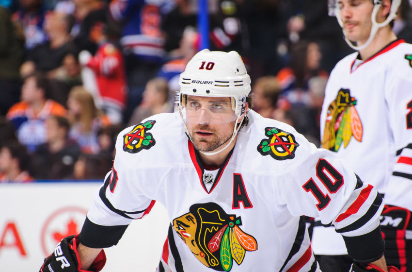 EDMONTON, AB - NOVEMBER 25: Patrick Sharp #10 of the Chicago Blackhawks skates against the Edmonton Oilers during an NHL game at Rexall Place on November 25, 2013 in Edmonton, Alberta, Canada. (Photo by Derek Leung/Getty Images)