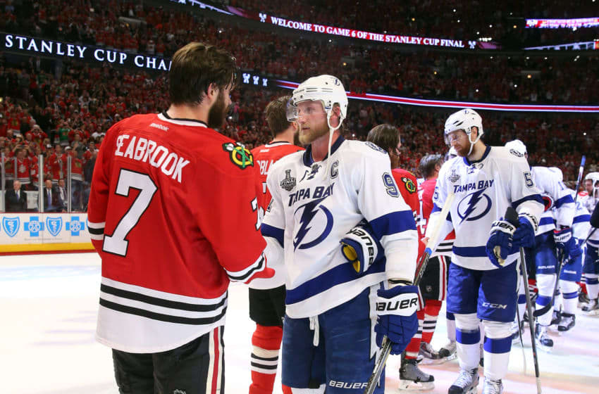 CHICAGO, IL - JUNE 15: Brent Seabrook #7 of the Chicago Blackhawks shakes hands with Steven Stamkos #91 of the Tampa Bay Lightning after the Blackhawks won Game Six by a score of 2-0 to win the 2015 NHL Stanley Cup Final at the United Center on June 15, 2015 in Chicago, Illinois. (Photo by Bruce Bennett/Getty Images)