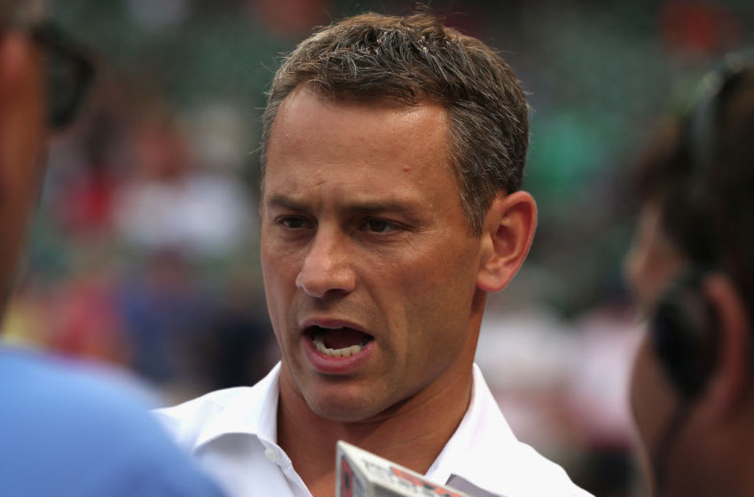 CHICAGO, IL - AUGUST 18: Exceutive Vice President and General Manager Jed Hoyer of the Chicago Cubs talks to media members before a game against the Detroit Tigers at Wrigley Field on August 18, 2015 in Chicago, Illinois. (Photo by Jonathan Daniel/Getty Images)