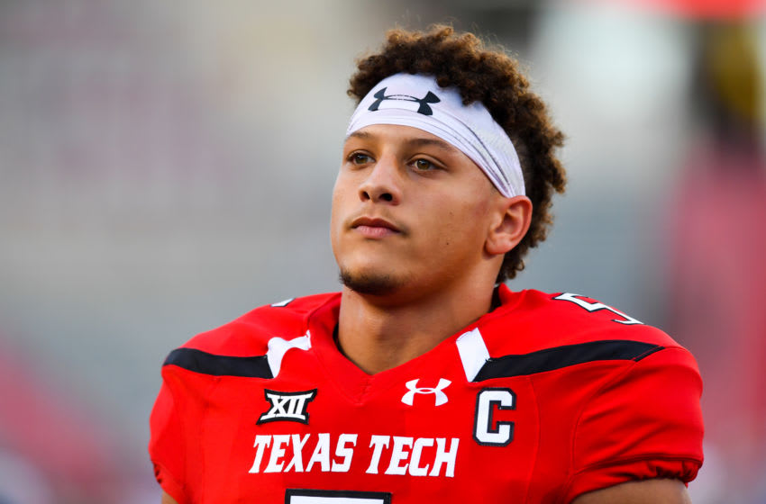 LUBBOCK, TX - SEPTEMBER 29: Patrick Mahomes II #5 of the Texas Tech Red Raiders on the field before the game against the Kansas Jayhawks on September 29, 2016 at AT&T Jones Stadium in Lubbock, Texas. Texas Tech won the game 55-19. (Photo by John Weast/Getty Images)