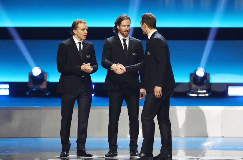 LOS ANGELES, CA - JANUARY 27: Patrick Kane #88, Duncan Keith #2 and Jonathan Toews #19 of the Chicago Blackhawks on stage during the NHL 100 presented by GEICO Show as part of the 2017 NHL All-Star Weekend at the Microsoft Theater on January 27, 2017 in Los Angeles, California. (Photo by Bruce Bennett/Getty Images)