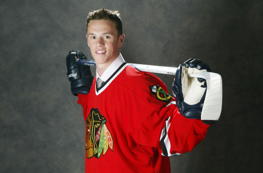 VANCOUVER, BC - JUNE 24: (L-R) 3rd overall pick Jonathan Toews of the Chicago Blackhawks poses for a photo at the 2006 NHL Draft held at General Motors Place on June 24, 2006 in Vancouver, Canada. (Dave Sandford/Getty Images for NHL)