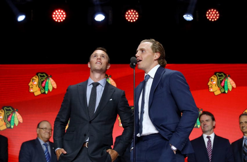 CHICAGO, IL - JUNE 23: Jonathan Toews and Patrick Kane of the Chicago Blackhawks speak to the crowd during the 2017 NHL Draft at the United Center on June 23, 2017 in Chicago, Illinois. (Photo by Bruce Bennett/Getty Images)
