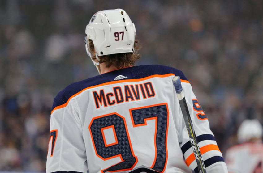 BUFFALO, NY - JANUARY 02: Connor McDavid #97 of the Edmonton Oilers against the Buffalo Sabres at KeyBank Center on January 2, 2020 in Buffalo, New York. Buffalo beats Edmonton 3 to 2. (Photo by Timothy T Ludwig/Getty Images)