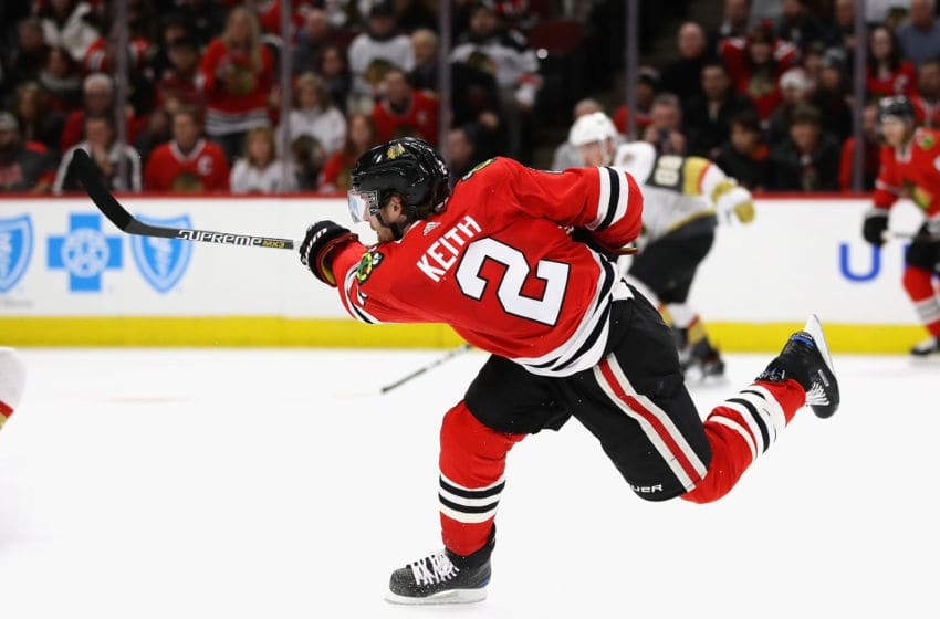 CHICAGO, IL - JANUARY 05: Duncan Keith #2 of the Chicago Blackhawks shoots against the Vegas Golden Knights at the United Center on January 5, 2018 in Chicago, Illinois. The Vegas Golden Knights defeated the Blackhawks 5-4. (Photo by Jonathan Daniel/Getty Images)