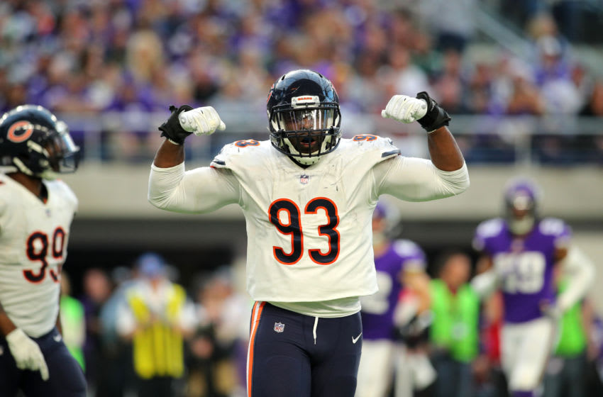 Sam Acho of the Chicago Bears celebrates after a sack. (Photo by Adam Bettcher/Getty Images)