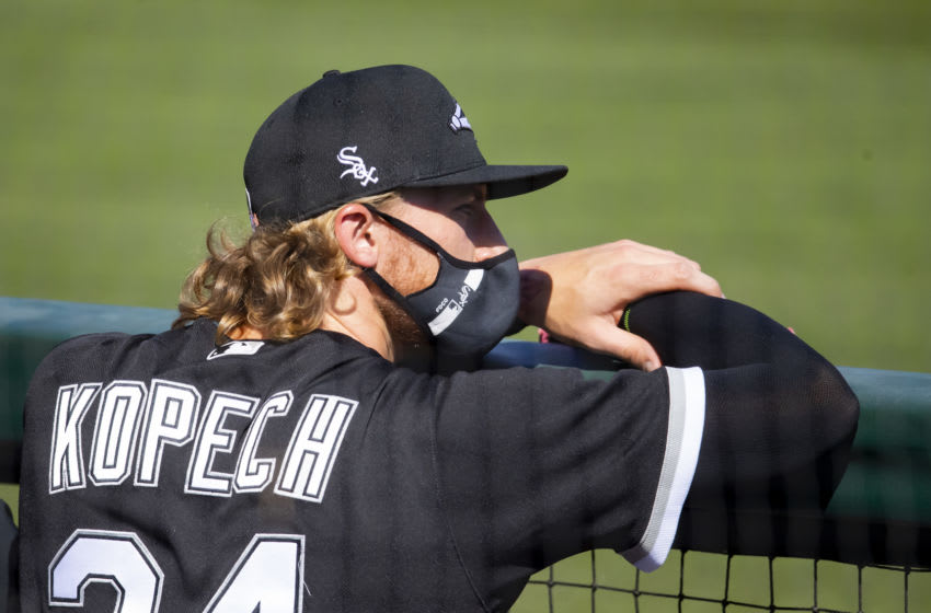 Mar 9, 2021; Glendale, Arizona, USA; Chicago White Sox pitcher Michael Kopech against the San Diego Padres during a Spring Training game at Camelback Ranch Glendale. Mandatory Credit: Mark J. Rebilas-USA TODAY Sports