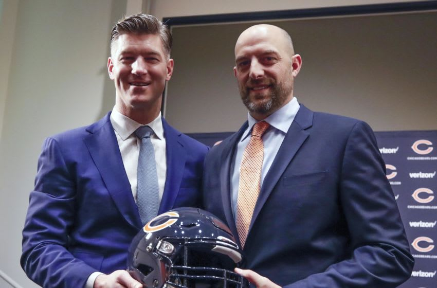 Jan 9, 2018; Lake Forest, IL, USA; Chicago Bears general manager Ryan Pace (L) and head coach Matt Nagy (R) pose for a picture during the press conference at Halas Hall. Mandatory Credit: Kamil Krzaczynski-USA TODAY Sports