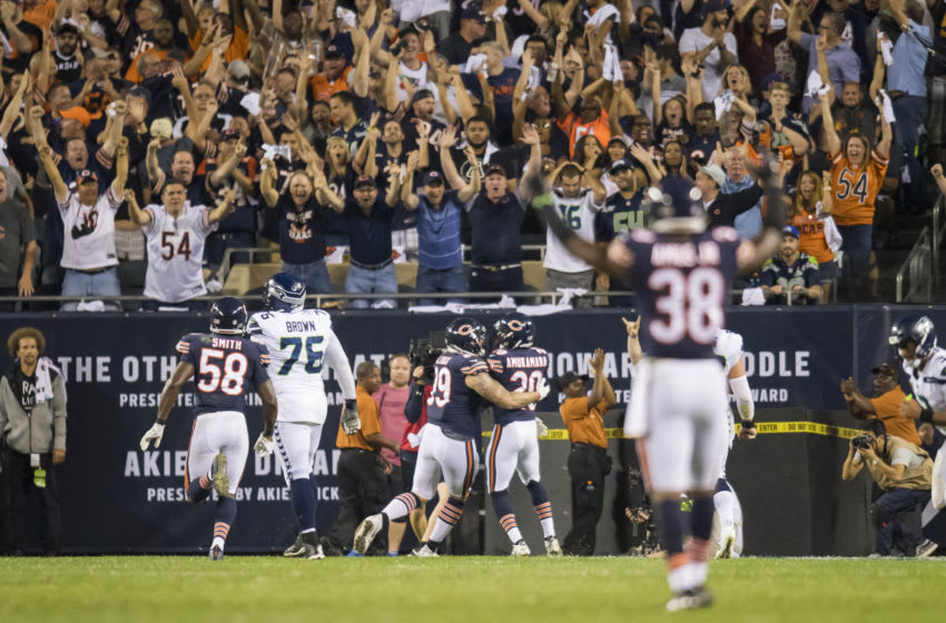 Sep 17, 2018; Chicago, IL, USA; Chicago Bears defensive back Prince Amukamara (20) celebrates after scoring a touchdown during the second half against the Seattle Seahawks at Soldier Field. Mandatory Credit: Patrick Gorski-USA TODAY Sports