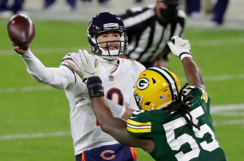 Green Bay Packers outside linebacker Za'Darius Smith (55) pressures Chicago Bears quarterback Mitchell Trubisky (10) during the second quarter on Sunday, Nov. 29, 2020, at Lambeau Field in Green Bay, Wis.