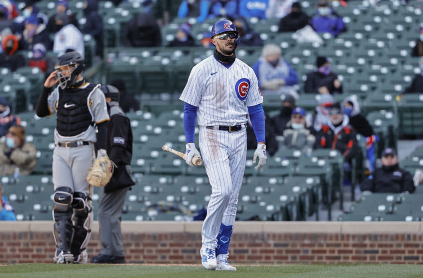 Apr 1, 2021; Chicago, Illinois, USA; Chicago Cubs third baseman Kris Bryant (17) walks to dugout after striking out against the Pittsburgh Pirates in the sixth inning at Wrigley Field. Mandatory Credit: Kamil Krzaczynski-USA TODAY Sports