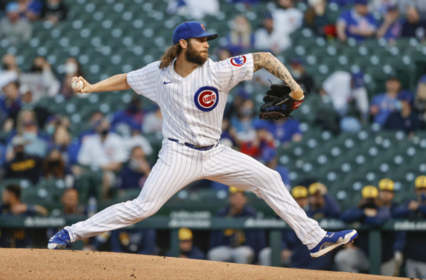 Apr 5, 2021; Chicago, Illinois, USA; Chicago Cubs starting pitcher Trevor Williams (32) delivers against the Milwaukee Brewers during the first inning at Wrigley Field. Mandatory Credit: Kamil Krzaczynski-USA TODAY Sports