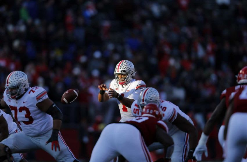 Ohio State Buckeyes quarterback Justin Fields (1) waits for the ball during a passing play against Rutgers Scarlet Knights during the 1st quarter of their game at SHI Stadium in Piscataway, N.J on November 16, 2019. [Kyle Robertson/Dispatch] Zxpjhpyhekvwsvsqmncnu20ole