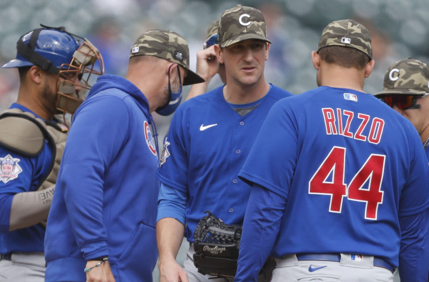 May 16, 2021; Detroit, Michigan, USA; Chicago Cubs starting pitcher Kyle Hendricks (28) gets taken out of the game during the ninth inning against the Detroit Tigers at Comerica Park on Armed Forces Weekend. Mandatory Credit: Raj Mehta-USA TODAY Sports