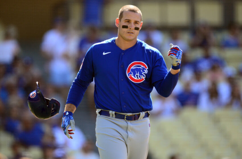 Jun 26, 2021; Los Angeles, California, USA; Chicago Cubs first baseman Anthony Rizzo (44) reacts after striking out to end the top of the first innng against the Los Angeles Dodgers at Dodger Stadium. Mandatory Credit: Gary A. Vasquez-USA TODAY Sports