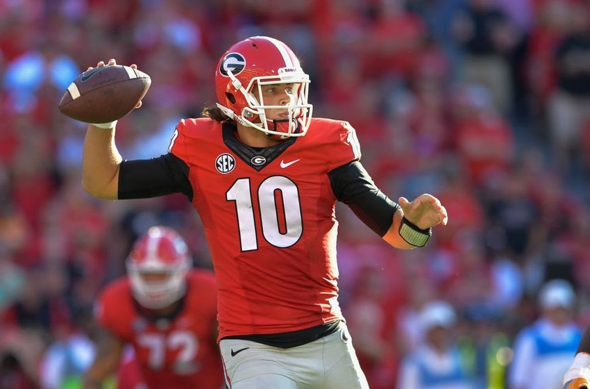 Oct 1, 2016; Athens, GA, USA; Georgia Bulldogs quarterback Jacob Eason (10) passes the ball against the Tennessee Volunteers during the second half at Sanford Stadium. Tennessee defeated Georgia 34-31. Mandatory Credit: Dale Zanine-USA TODAY Sports