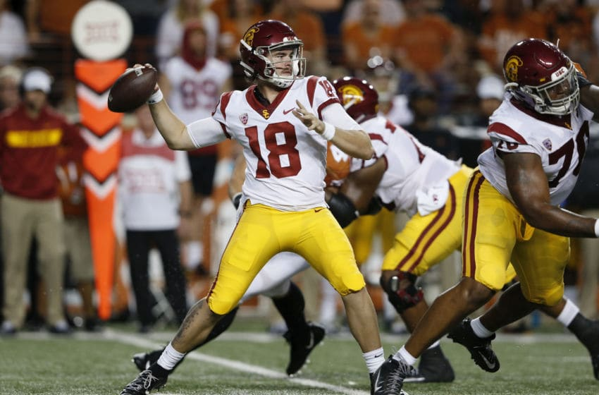 AUSTIN, TX - SEPTEMBER 15: JT Daniels #18 of the USC Trojans looks to pass in the first quarter against the Texas Longhorns at Darrell K Royal-Texas Memorial Stadium on September 15, 2018 in Austin, Texas. (Photo by Tim Warner/Getty Images)
