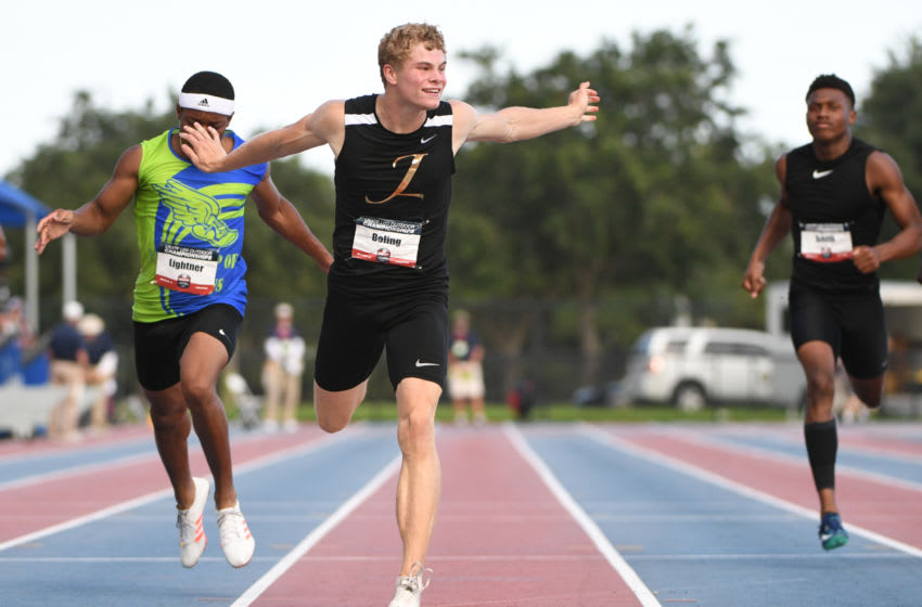 MIRAMAR, FL - JUNE 23: Matthew Boling wins the Men's 200m Final during the USA Track & Field U20 Outdoor Championships at Ansin Sports Complex on June 23, 2019 in Miramar, Florida. (Photo by Mark Brown/Getty Images)