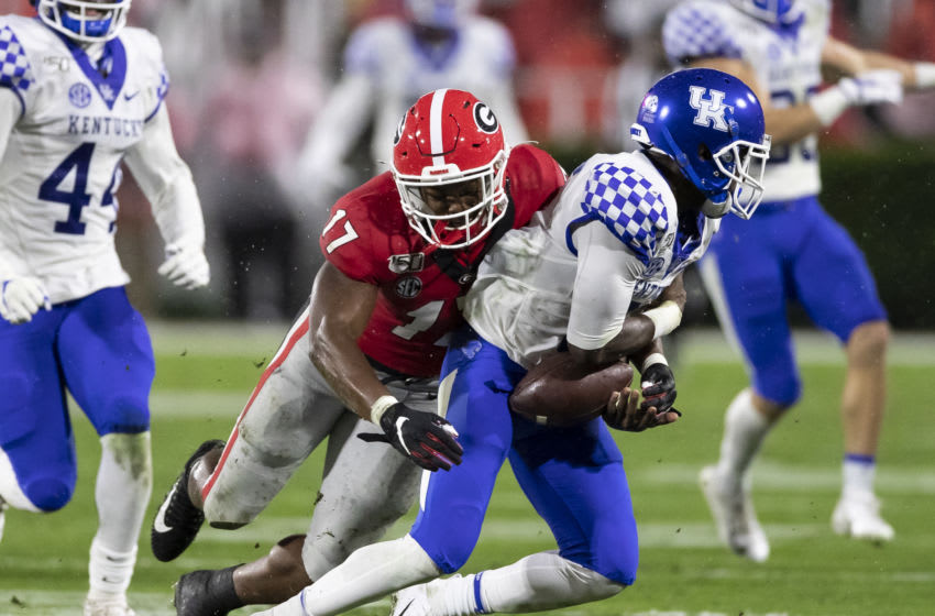 ATHENS, GA - OCTOBER 19: Nakobe Dean #17 of the Georgia Bulldogs tackles Josh Ali #6 of the Kentucky Wildcats causing a fumble recovered by Kentucky during a game between University of Kentucky Wildcats and University of Georgia Bulldogs at Sanford Stadium on October 19, 2019 in Athens, Georgia. (Photo by Steve Limentani/ISI Photos/Getty Images).